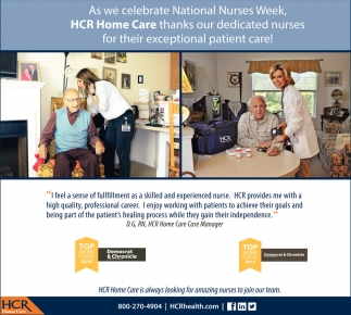HCR Home Care Is Always Looking For Amazing Nurses To Join Our Team