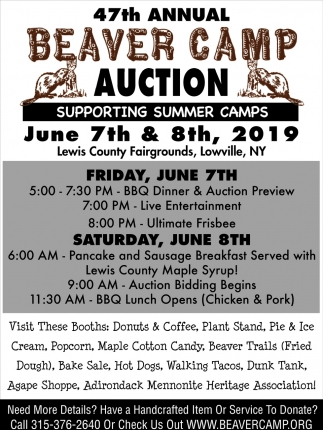 47th Annual Beaver Camp Auction