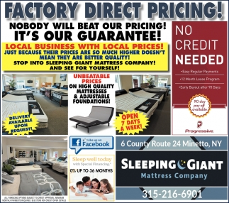 Factory Direct Pricing!