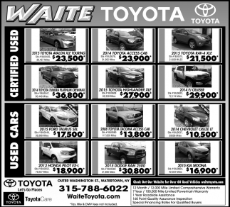 Used Cars, Waite Toyota, Watertown, NY