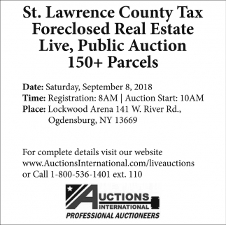 St. Lawrence County Tax Foreclosed Real Estate Live, Public Auction 150+ Parcels