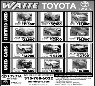 Charming Ads For Waite Toyota In Watertown, NY