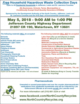 Free Household Hazardous Waste Collection Days