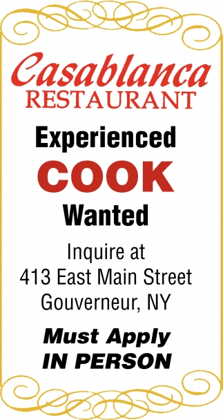 Experienced Cook Wanted