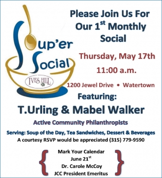 Please Join Us For Our 1st Monthly Social