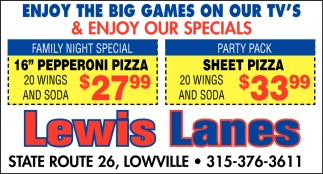 Enjoy The Big Games On Your TV's & Enjoy Our Specials