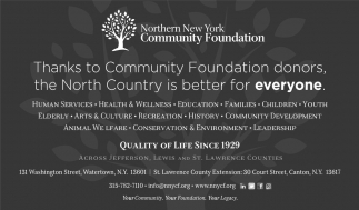 Thanks To Community Foundation Donors, The North Country Is Better For Everyone.